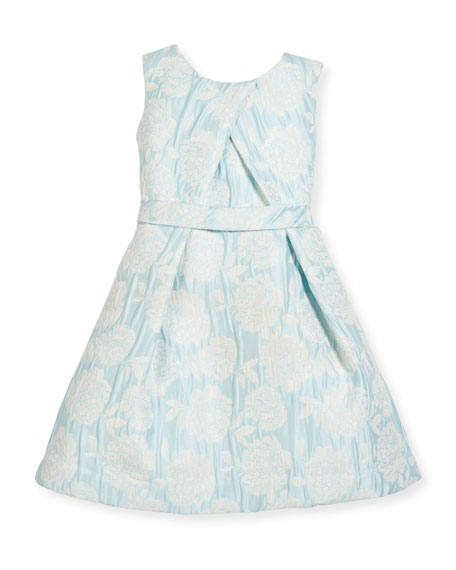 Floral Jacquard Cross-Pleated Dress, Size 2-6