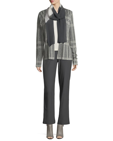 Sleek Printed Tencel®/Merino Shaped Cardigan