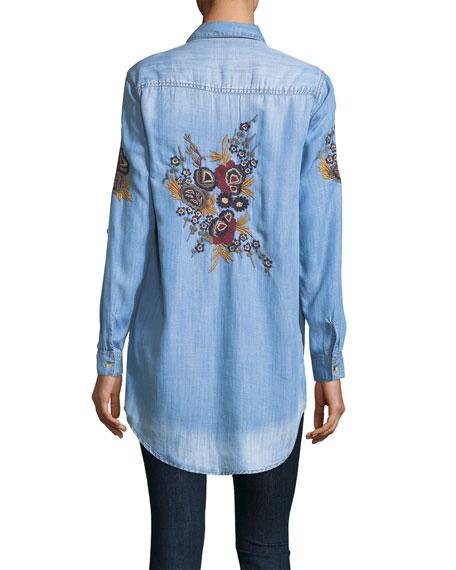 Tina Denim Embroidered-Back Tunic, Plus Size