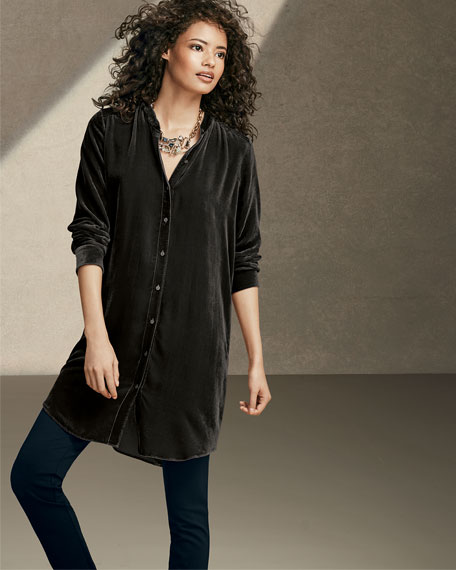 Long Washable Velvet Tunic Top, Plus Size