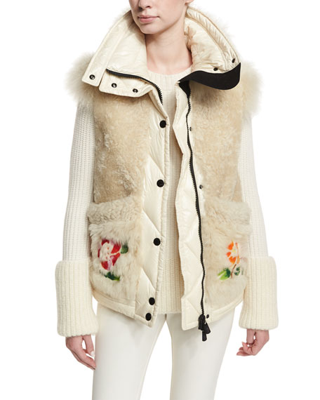 Diamant Fur Puffer Embroidered Jacket