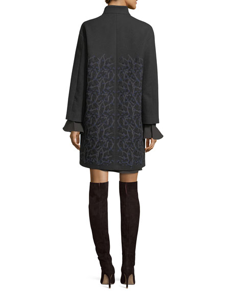 Winter Sonnet Embroidered Cashmere Car Coat