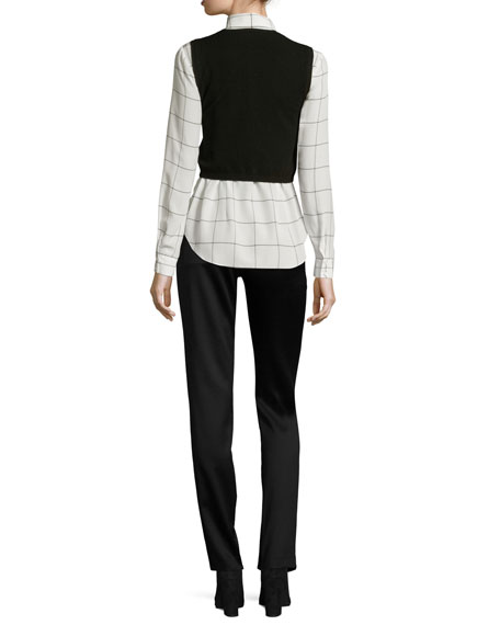 Lucinda Combo Cropped Sweater Vest w/ Shirt