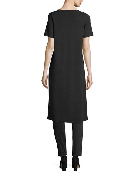 Short-Sleeve Washable Wool Crepe Tunic
