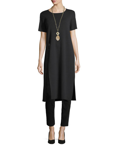 Short-Sleeve Washable Wool Crepe Tunic, Petite and Matching Items