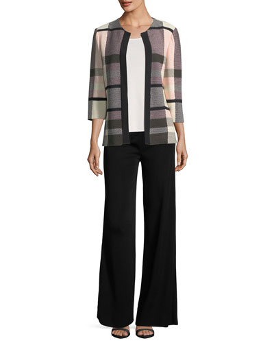 Plaid 3/4-Sleeve Jacket  and Matching Items, Petite