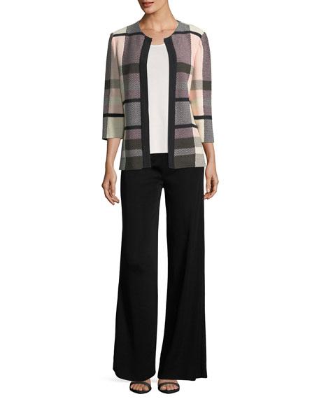 Plaid 3/4-Sleeve Jacket, Petite