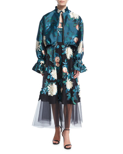 Doshi Trumpet-Sleeve Floral-Print Jacket and Matching Items