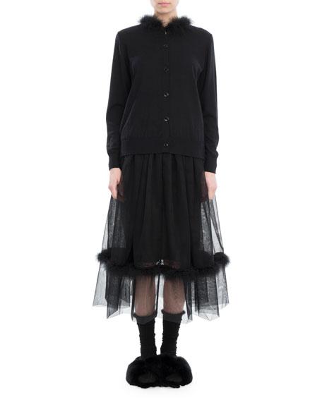 Feather-Trim Merino-Silk-Cashmere Cardigan