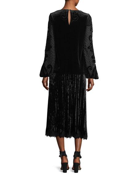 Sarina Long-Sleeve Crocheted Velvet & Satin Blouse