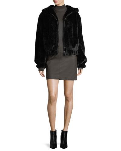 Turtleneck Long-Sleeve Paneled Leather Dress and Matching Items