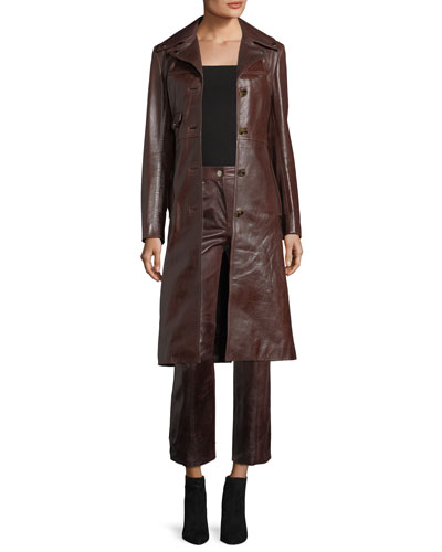 Leather Button-Front Belted Biker Coat and Matching Items