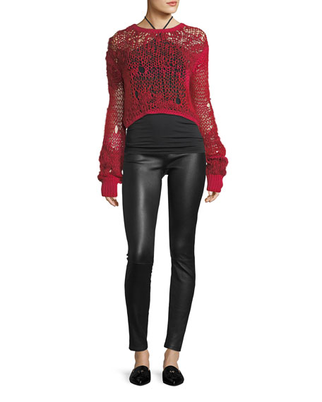 Grunge Cropped Open-Knit Wool Sweater