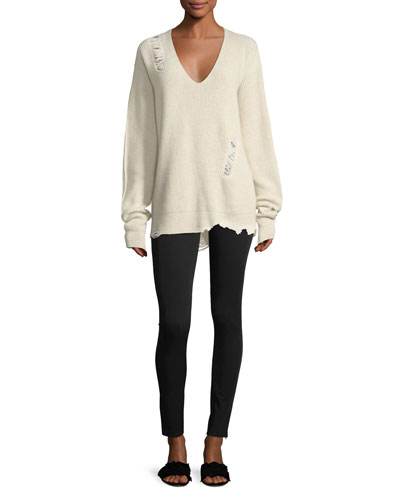 Distressed V-Neck Oversized Wool-Cashmere Sweater and Matching Items