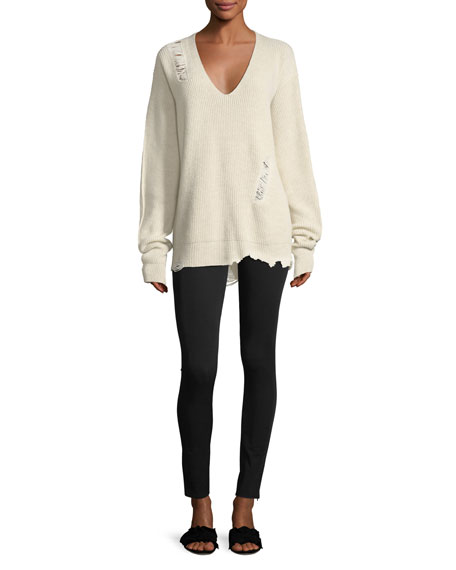 Helmut Lang Distressed V-Neck Oversized Wool-Cashmere Sweater and Matching  Items   Matching Items  980b5abba