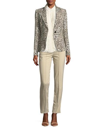Ruffled Lace-Bib Silk Shirt and Matching Items
