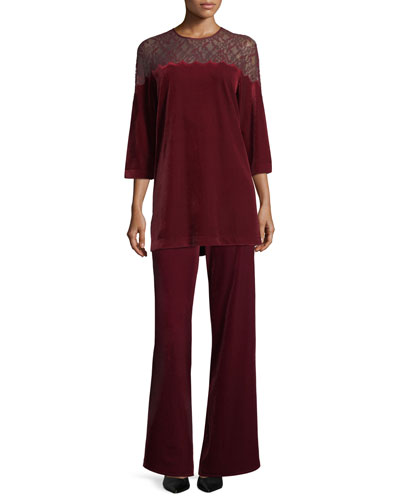 Velvet Wide-Leg Pants, Petite  and Matching Items