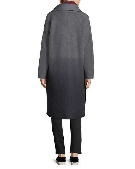 Ombre Boiled Wool Kimono Coat, Plus Size