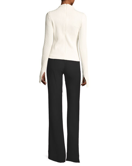 Ribbed Crepe Mock-Neck Top