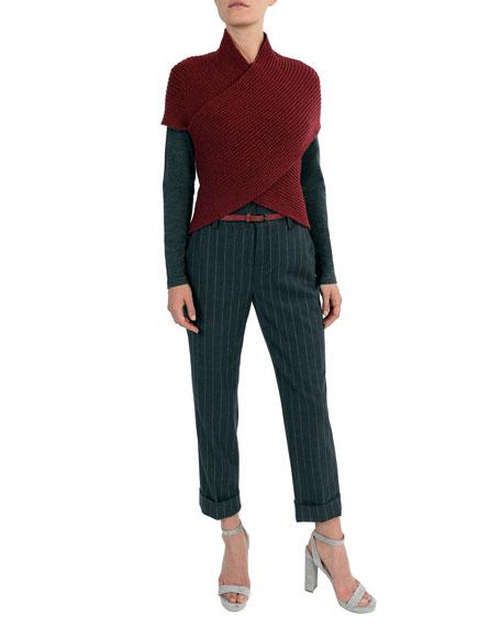 Ribbed Wool-blend Crisscross Pullover