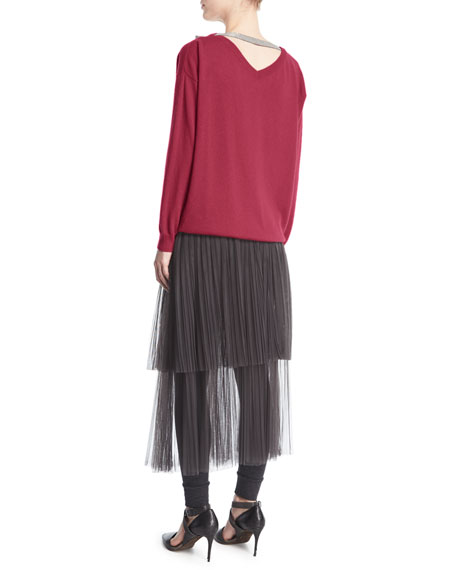 Layered Tulle Midi Skirt with Leggings