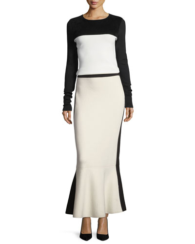 Pull-On Knit Flared-Hem Wool Maxi Skirt and Matching Items