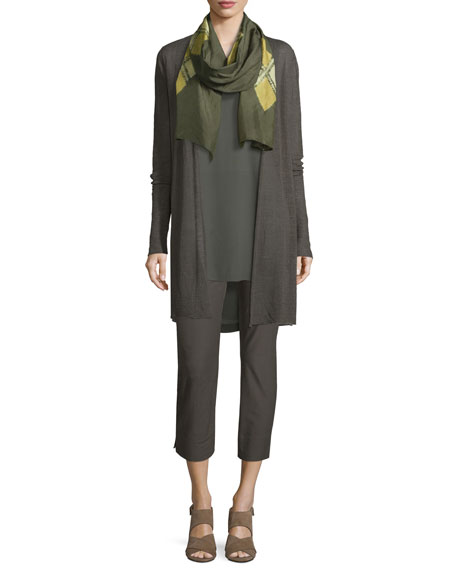 Sheer Hemp Grid Long Cardigan, Petite