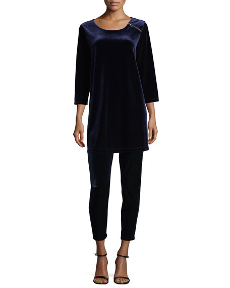 3/4-Sleeve Velour Tunic W/ Zipper Detail, Petite