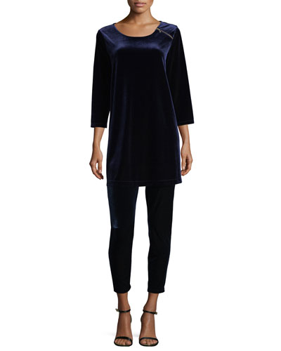 3/4-Sleeve Velour Tunic W/ Zipper Detail, Plus Size and Matching Items