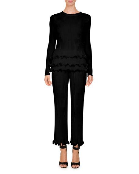 Crewneck Rib-Knit Sweater w/ Tiered Ruffle Hem