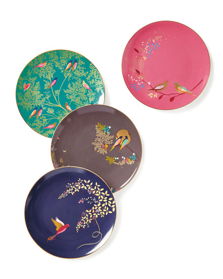 Portmeirion Sara Miller Gold-Plated Assorted Plates, Set of 4