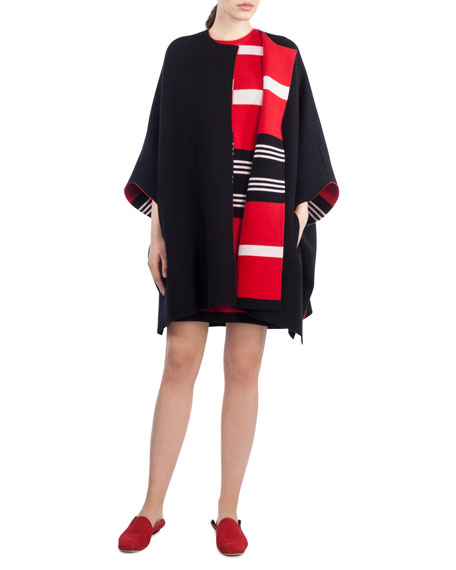 Round-Neck Sleeveless Reversible Striped Cashmere Knit Dress