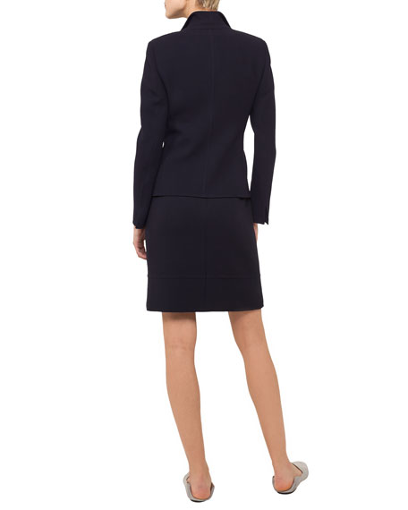 Round-Neck Snap-Front Wool Crepe Short Jacket