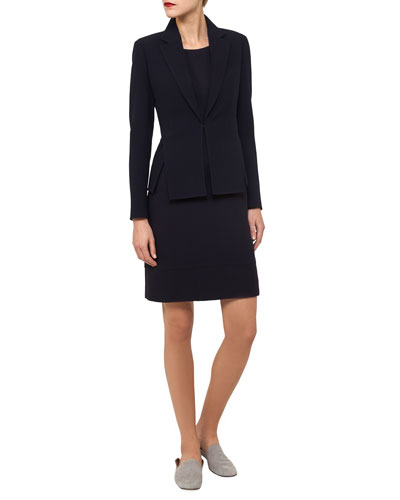 Round-Neck Snap-Front Wool Crepe Short Jacket and Matching Items