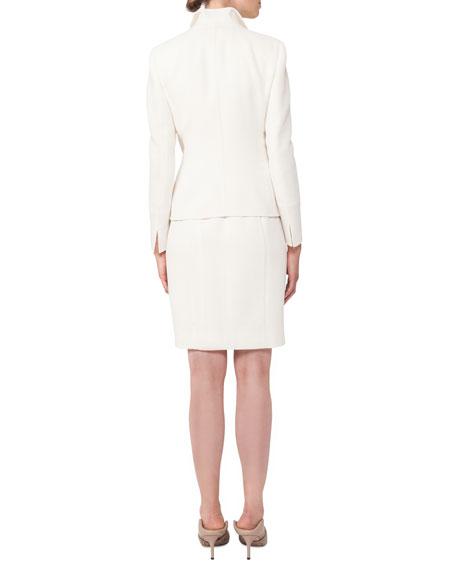 Akris Hook-Front Wool-Crepe Tailored Blazer