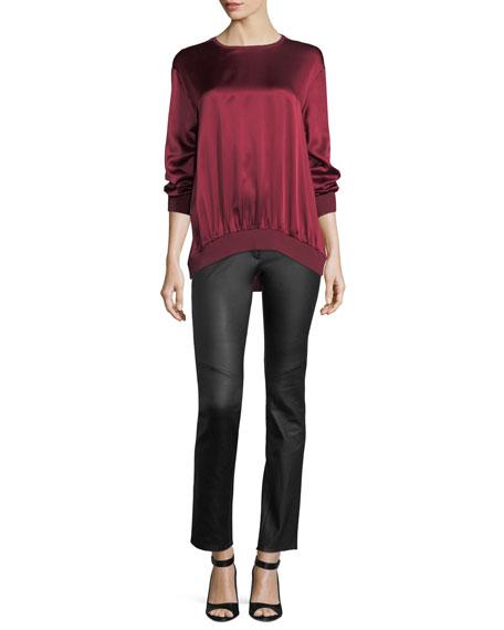 Crewneck Long-Sleeve Satin Sweatshirt