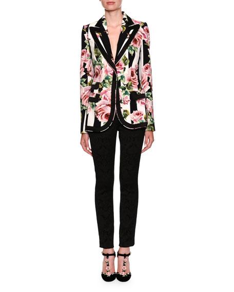 Single-Breasted Stripes & Rose-Print Cady Blazer