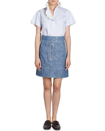 Natalia High-Waist Cargo Pocket Chambray Skirt and Matching Items