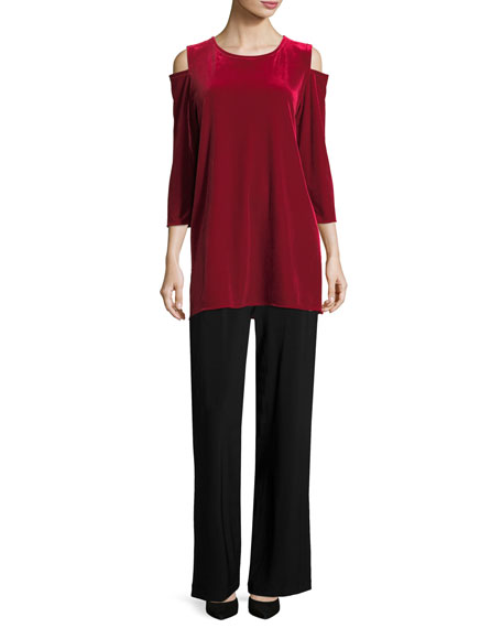 Stretch Velvet Cold-Shoulder Tunic, Petite