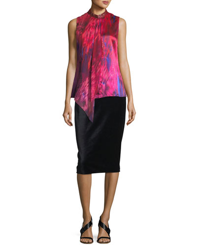 Harla Satin-Trimmed Velvet Pencil Skirt and Matching Items