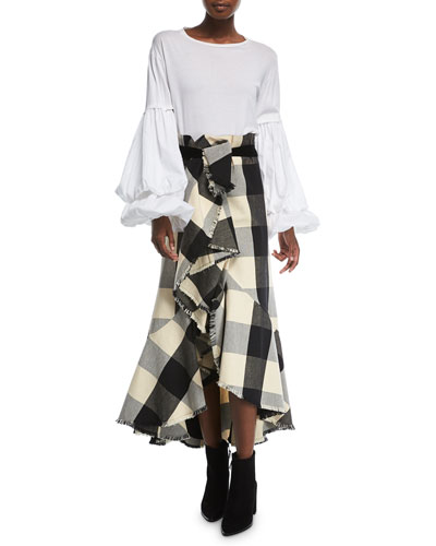 Texan Garden Plaid Asymmetric Tiered Ruffled Canvas Skirt and Matching Items