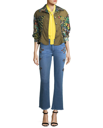 High-Rise Straight-Leg Jeans w/ Studs and Matching Items