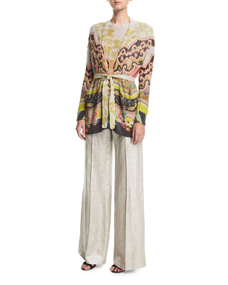 Wide-Leg Metallic Silk/Linen Pants