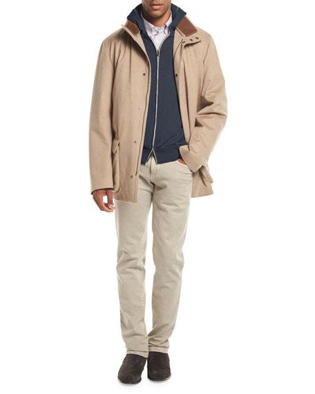 Cashmere-Cotton Zip-Front Hoodie