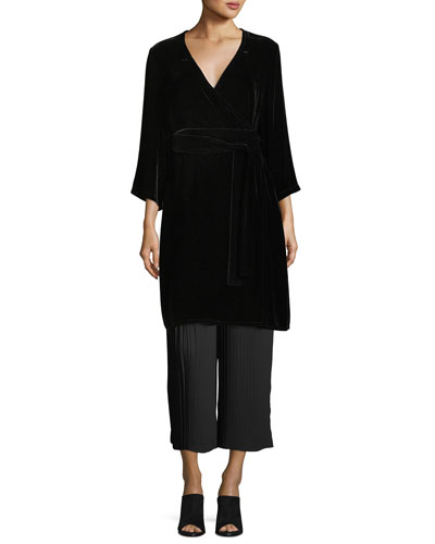 Velvet 3/4-Sleeve Wrap Dress and Matching Items, Plus Size