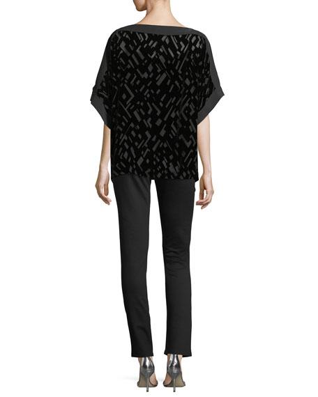 Geometric Burnout Velvet 3/4-Sleeve Top