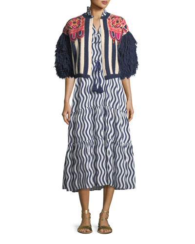 Lila Sleeveless River-Stripe Midi Dress with Tassel-Ties and Matching Items