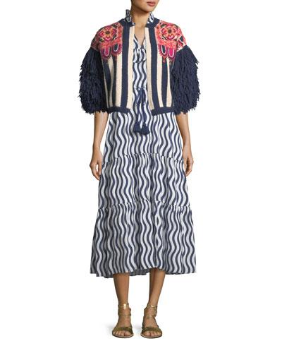 Lila Sleeveless River-Stripe Midi Dress with Tassel-Ties and Matching Items