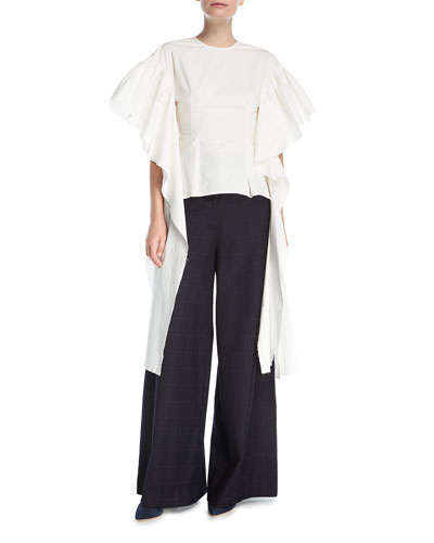 Kara Flounce-Sleeve Fitted Poplin Blouse and Matching Items