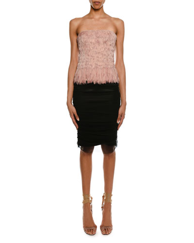 Satin Pencil Skirt with Shirred Tulle Overlay and Matching Items